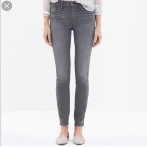 Madewell high rise gray skinny ankle jeans 28